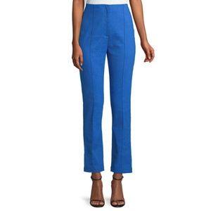 DVF Cobalt Blue Mid-Rise Linen Skinny Pants
